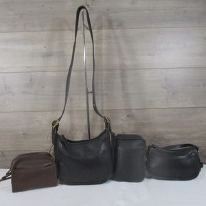 Lot 4 Vintage Coach Leather Crossbody Bag